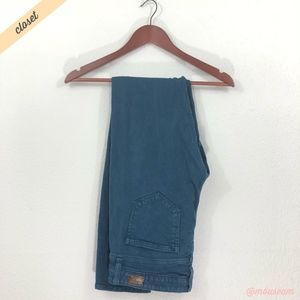 [PAIGE] Peacock Blue Low Rise Peg Skinny Jeans